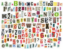 Alphabet de journal Photographie stock