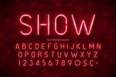 Alphabet de la lampe au néon 3d, police rougeoyante supplémentaire Photo libre de droits