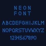 Alphabet de lampe au néon Lettres et nombre de vecteur Photos libres de droits