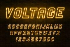 Alphabet de lampe au néon de tension, police rougeoyante supplémentaire réaliste Image libre de droits