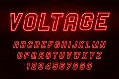 Alphabet de lampe au néon de tension, police rougeoyante supplémentaire réaliste Images stock