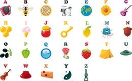 Alphabet de livre d'ABC avec des illustrations Photographie stock libre de droits