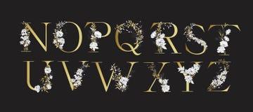 Alphabet de mariage Initiales avec les éléments botaniques Disposition de monogramme illustration libre de droits