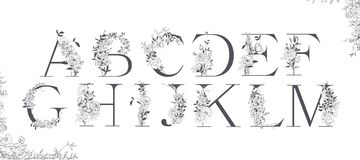 Alphabet de mariage Initiales avec les éléments botaniques Disposition de monogramme illustration de vecteur