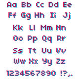 Alphabet de pixel de vecteur Lettres et nombres roses et bleus Photo stock