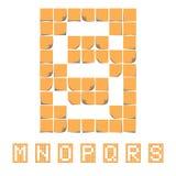 Alphabet de police d'autocollant Notes collantes EPS8 Image libre de droits