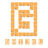 Alphabet de police d'autocollant Notes collantes EPS8 Photographie stock
