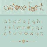Alphabet de police de vecteur formé comme des flèches de tir à l'arc Images libres de droits