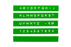Alphabet de relief sur bande verte Photos libres de droits