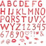 Alphabet de rouge à lèvres Images stock