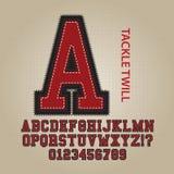 Alphabet de sergé d'attirail et vecteur de nombres illustration stock