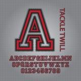 Alphabet de sergé d'attirail et vecteur rouges de nombres illustration stock