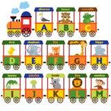 Alphabet de train avec les animaux A à M Image libre de droits