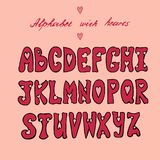 Alphabet de valentines avec des coeurs illustration stock