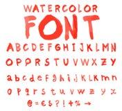 Alphabet de vecteur avec la police d'aquarelle illustration de vecteur