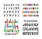 Alphabet de vecteur Gothique, brosse, droit, colorés et mascara, avec une texture Lettrage de main pour des conceptions - logos Images stock