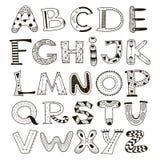 Alphabet de vecteur de griffonnage, ensemble de lettres photographie stock
