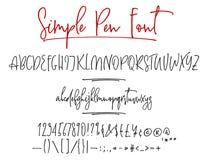 Alphabet de vecteur de lettrage de Ballpen Illustration Stock