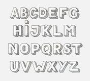 Alphabet de vecteur Lettres tirées par la main Photos libres de droits