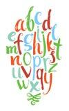 Alphabet de vecteur Lettres tirées par la main colorées écrites avec un brus Image libre de droits