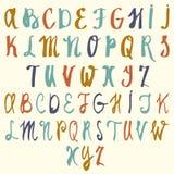Alphabet de vecteur Lettres tirées par la main Lettres de l'alphabet écrit avec une brosse ABC a peint des lettres Image stock
