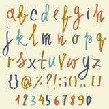 Alphabet de vecteur Lettres tirées par la main Lettres de l'alphabet écrit avec une brosse ABC a peint des lettres et des nombres Images libres de droits