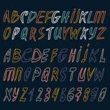 Alphabet de vecteur Lettres tirées par la main Lettres de l'alphabet écrit avec une brosse ABC a peint des lettres Lettres modern Photo stock