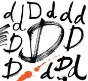 Lettres de l'alphabet écrit avec une brosse. Illustration de Vecteur