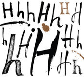 Lettres de l'alphabet écrit avec une brosse. Illustration Libre de Droits