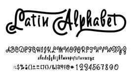 Alphabet de vecteur Police calligraphique Caractères faits sur commande uniques Remettez le lettrage pour des conceptions - logos Photographie stock libre de droits