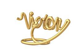 Alphabet de victoire de forme de tube avec la main d'or illustration 3D illustration libre de droits