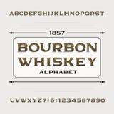 Alphabet de whiskey de Bourbon Rétro police de vecteur affligée d'alphabet Lettres et nombres Photo stock