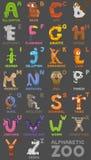Alphabet de zoo blanc animal de vecteur de fonds d'image d'alphabet Lettres d'A à Z Animaux mignons de bande dessinée d'isolement Image stock