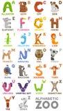 Alphabet de zoo blanc animal de vecteur de fonds d'image d'alphabet Lettres d'A à Z Animaux mignons de bande dessinée d'isolement Images libres de droits