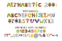 Alphabet de zoo blanc animal de vecteur de fonds d'image d'alphabet Lettres d'A à Z Animaux mignons de bande dessinée d'isolement Photographie stock libre de droits