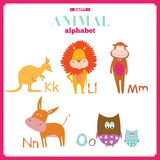 Alphabet de zoo de vecteur avec la bande dessinée et drôle mignons Image libre de droits