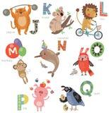 Alphabet de zoo pour des enfants Ensemble de lettres et d'illustrations Animaux mignons Photo stock