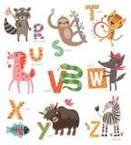 Alphabet de zoo pour des enfants Ensemble de lettres et d'illustrations Animaux mignons Photos stock