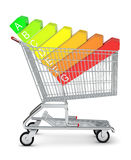 Alphabet on decks in shopping cart Stock Photo