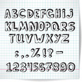 Alphabet decorative font on a background of checkered sheet. Of paper in the style of the sketch royalty free illustration