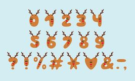 Alphabet deer design. Numbers and punctuation marks. Bold font clip art, cartoon style. Vector illustration. EPS 10. Alphabet deer design. Numbers and royalty free illustration