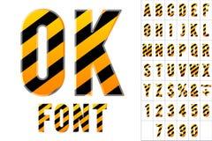 Alphabet in der Farbe des Warnzeichens Lizenzfreie Stockbilder