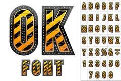 Alphabet in der Farbe des Warnzeichens Stockfotografie