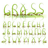 Alphabet des grünen Grases vektor Stockbilder