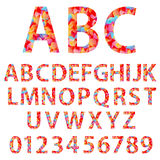 Alphabet design in a colorful style. Royalty Free Stock Images