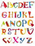 Alphabet design in a colorful style. Royalty Free Stock Photos