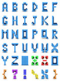 Alphabet design. Alphabet and set of signs in colored cube design Stock Image