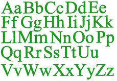 Alphabet with dewdrops. Isolated 3d render of green alphabet with dewdrops Stock Photography