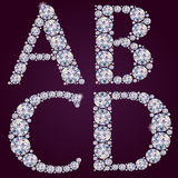 Alphabet of diamonds ABCD Stock Photo