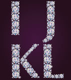 Alphabet of diamonds IJKL Royalty Free Stock Photo